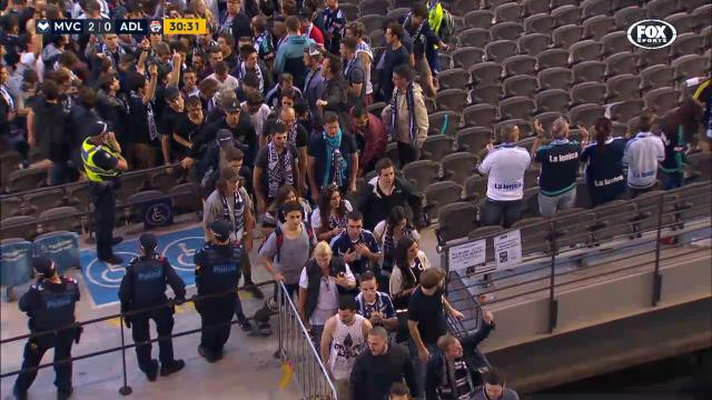 Victory fans walk out