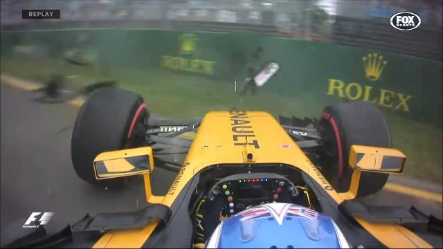 The first F1 crash of 2017