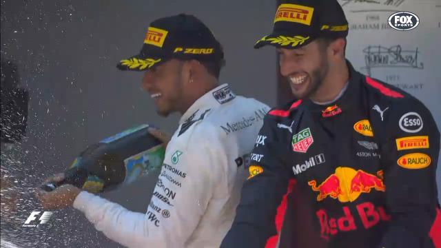 Ricciardo celebrates podium