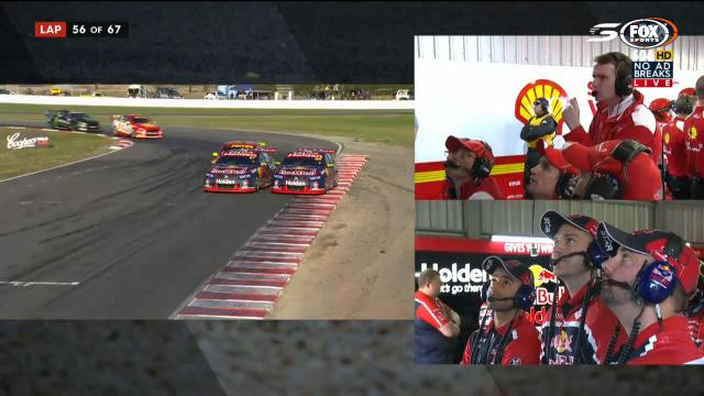 Whincup runs wide, hits Fabs