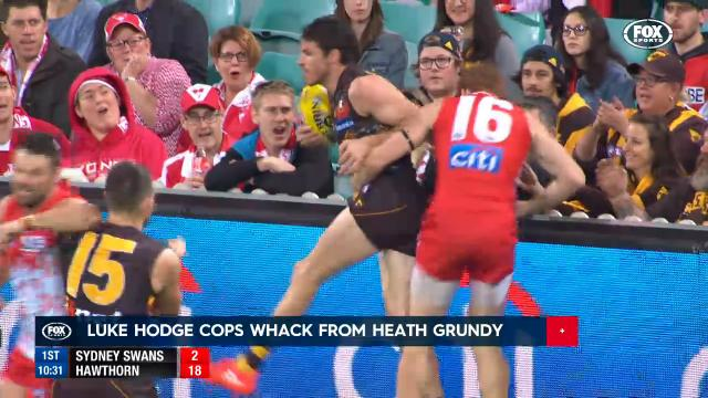 Hodge cops Grundy whack