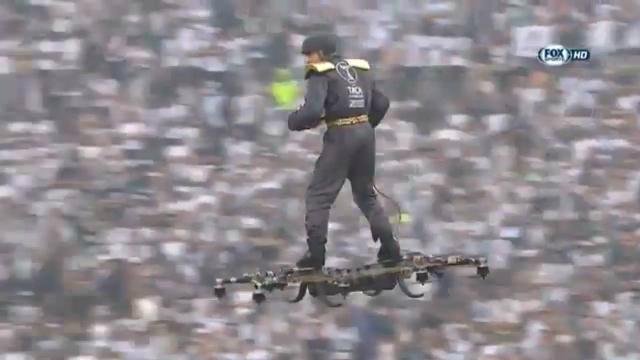 Drone-rider delivers Cup ball